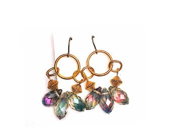 Rainbow Rain crystals and Gold Earrings