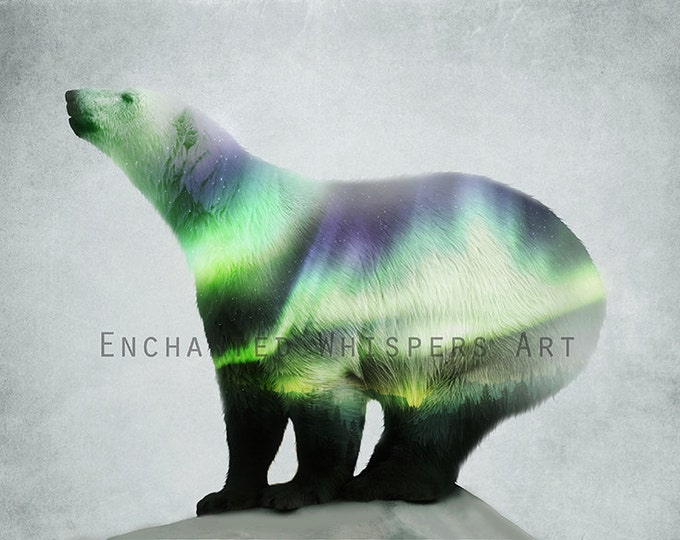 Northern Lights Polar Bear Surreal art print by Enchanted Whispers