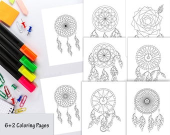 Dreamcatcher Coloring Pages, Dream Catcher Coloring pages, Coloring pages for adults, Coloring pages for kids