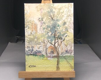 original Aceo, Cathedral Singapore, conservation, original aceo watercolor painting, id180320 miniature art landscape