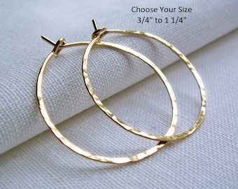 Gold fill Hoop Earrings, Gold Filled Hoop Earrings, .75 to 1.25 inch, Hammered Hoop, Dainty, Simple Classic Plain Hoops, 14/20 Gold Fill