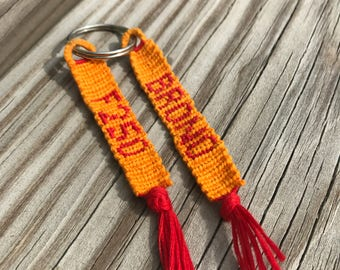 Custom Lettering Woven Keychain with Tassel End