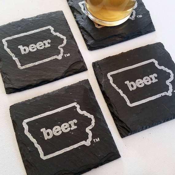 READY TO SHIP Iowa Craft Beer Tent Slate Coasters - Mancave Garage Fathers Day Beer Lover Mens Gift Valentineu0027s Day & READY TO SHIP Iowa Craft Beer Tent Slate Coasters Mancave