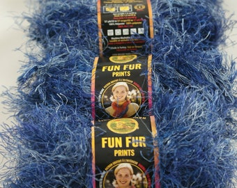 4 Skien Lot Lion Brand Fun Fur Indigo Blue It is sort of like denim with the color variations