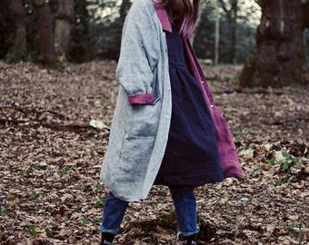 100% Linen Warm Reversible Coat, hand made in London, sustainable, artisan, fashion