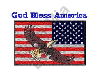 Flag - Machine Embroidery Design, USA Flag, God Bless America
