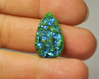 Natural Green Blue Titanium Druzy Quartz Cabochon Gemstone Pear Shape Ring size 23x15x9 mm. 21.85 Cts.