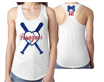 Glitter Baseball Mom Tank Top Racer Back | Heart Bats | Customize Your Colors