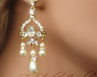 Bridal Earrings - Gold Tone Pearl Bridal Chandelier Earings - Gold Wedding Jewelry - JASMINE