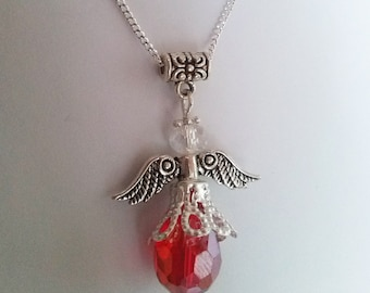 Red Necklace , Guardian Angel Necklace , Red Crystal Necklace , Red Necklace , Silver Necklace , Protection , Gift , Handmade Jewellery