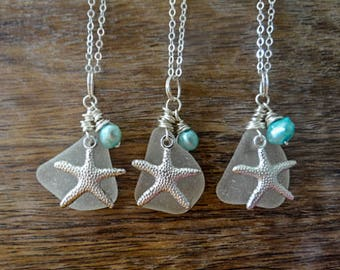 Sea glass, starfish and pearl 'Iolana' pendant, rare large clear glass, sea glass jewellery, seaglass jewelry, silver wire wrapped, mermaid