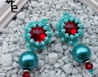 Blue earrings, earrings for her, women's earrings, women's gifts, rivoli earrings, red earrings, blue and red earrings