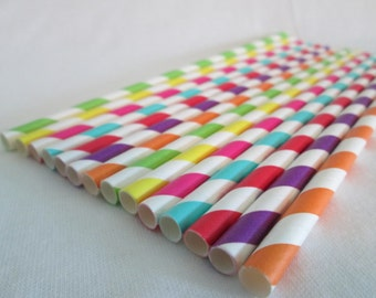Paper Straws Rainbow Stripes Mix Perfect for a Rainbow Birthday Party Baby Shower or Add Some Color To Any Event