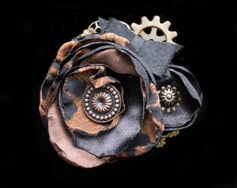 Black and Brown Steampunk Wedding Fascinator- Leopard Print Flower Fascinator- Cheetah Print Hair Clip- Steam Punk- Steampunk Hats