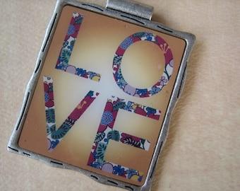 1PC - LOVE Pendant - 50x45mm - Antique Silver Colored Finish