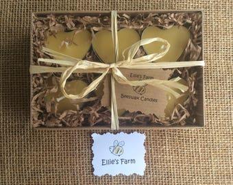 Heart Shape Tealight Gift Set, Beeswax Tealights, Tealight Gift Set, Heart Tealights, Pure Beeswax Tealights, Beeswax Candles, Heart Candles
