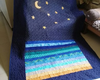 Modern throw quilt Star and moon quilt Ocean Quilt Handmade quilt Patchwork quilt sale Twin quilt Blue quilt Ombre quilt Wedding gift