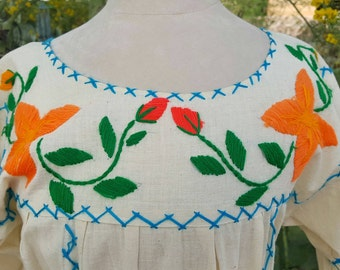 Hand Embroidered Cotton Muslin Mexican Peasant Dress Size M / L