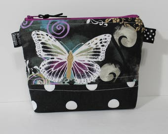 Cosmetic Bag, Makeup Bag, Butterfly Print, Black and White Polka Dot, Mothers Day Gift