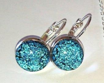 Earrings green fuse glass