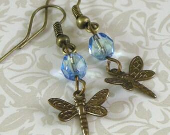 Dragonfly Earrings - Blue