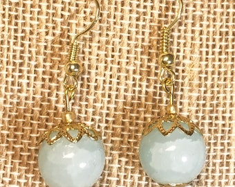 Aquamarine glass earrings with gold filled wires