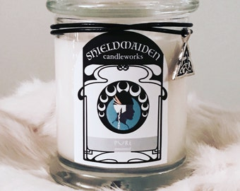 """Unscented soy candle """"Pure"""" 12oz Viking Natural Soy jar Candle With Lid Shieldmaiden Candleworks"""