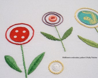 Wildflowers modern hand embroidery pattern - modern embroidery PDF pattern, digital download