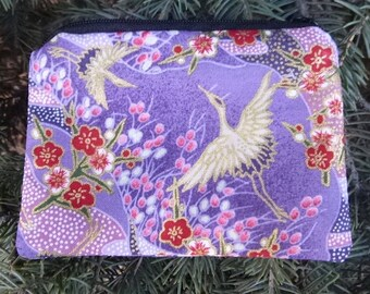 Japanese cranes coin purse, credit card case, gift card pouch, Cranes Landscape, The Raven