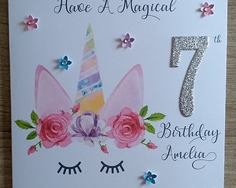 Personalised Unicorn Birthday Card (style2)