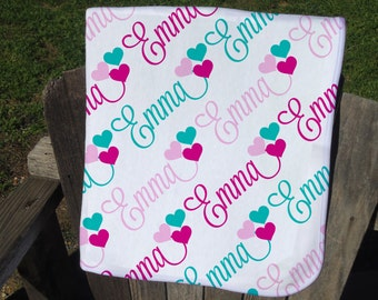 Personalized Baby Blanket with Hearts - Heart Receiving Blanket for Girls - Heart Name Blanket - Newborn Swaddling Blanket - Baby Girl Gift