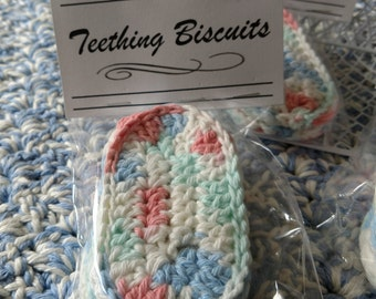 New Item! Teething Biscuits, Set of Two, Cotton Teething Biscuits, Gum Soothers, Country Goods