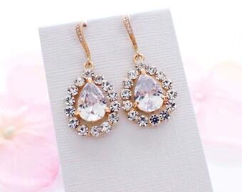 Gold wedding earrings, cubic zirconia, bridal earrings, vintage style, bridesmaid gift, crystal drop, cz earrings, bridesmaid jewelry