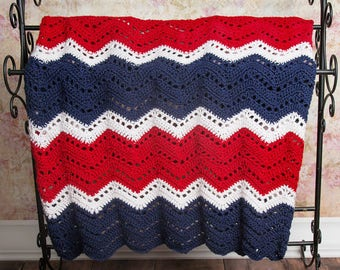 Throw blanket, Crochet blanket, Lap blanket, Gift for Her, Patriotic, Knit blanket, Home Decor, Housewarming gift, Wedding gift idea