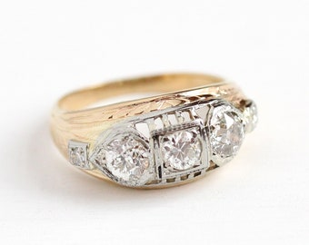 Vintage Diamond Ring - 1920s 14k Yellow & White Gold .98 CTW Anniversary Band - Art Deco Size 6 Engagement Wedding Five Stone Fine Jewelry