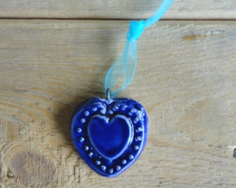 Heart Necklace in earthenware, blue turquoise glaze - crew neck made by hand-Valentine