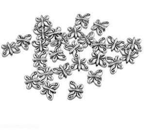 8 beads in antique silver Butterfly shape