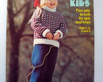 Little Kids Knitting Patterns Sweaters Hats Pants Columbia Minerva 2570 Boy Girl Size 1, 2, 3, 4
