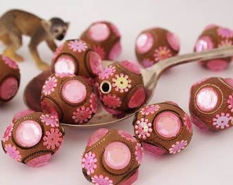 2 Kashmiri Beads Large Round Ochre Pink Ethnic Beads Size 25mm Large Hole Size 3mm