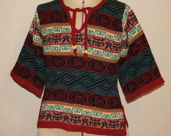 Vintage Hippie Shirt - 1970s Indian Print Sweater by Collage