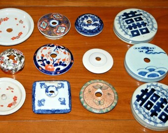 13 Chinese Japanese Porcelain Lids Ginger Jar Tea Caddy Blue Willow Lamp Parts
