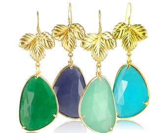 Jade Leaf Earrings: Emerald Green / Dark Blue / Azure / Sky Blue