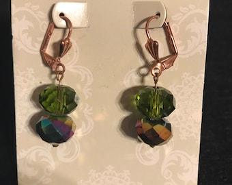 Copper Crystal Drop Earrings