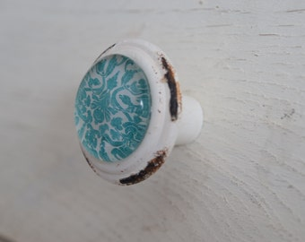 Distressed Teal and White Dresser Drawer Knobs With Danmask, Drawer Pull, Cabinet Pull, Cabinet Knobs