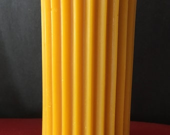 "Fluted beeswax pillar candle, 2.5"" W x 5.5"" H"