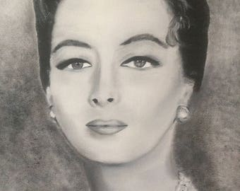 Kay Kendall Black and White Oil Painting
