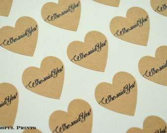 """She Said Yes Heart Stickers--108 Kraft Heart Stickers, 3/4"""" Heart Stickers, Envelope Seals, Wedding Label, Gift Wrapping, Thank You Sticker"""