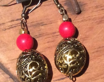 Gold  and red earrings