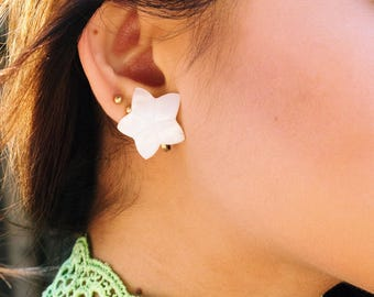 White Flower - Clip On Earrings