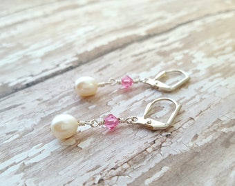White Freshwater Pearls and Pink Swarovski Crystal Earrings - Pink Crystal Earrings - White Pearl Earrings - Formal Drop Earrings - Dainty